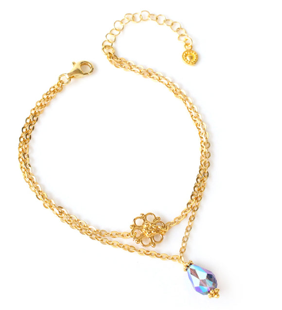 Dige Designs flower bracelet with Swarovski drop