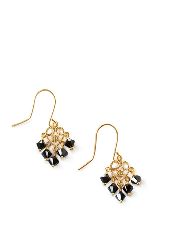 Dige Designs gold plated earrings with black Swarovski crystals