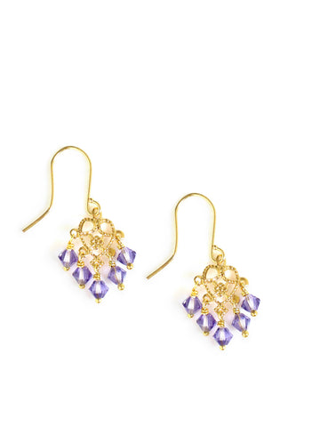 Gold earrings with heart filigrees and tanzanite Swarovski crystals