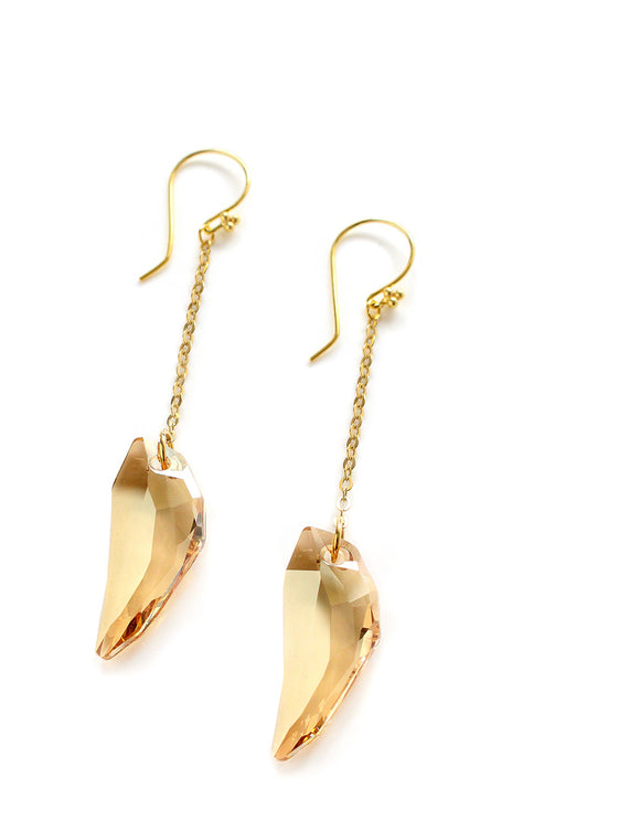 Long Golden Shadow Swarovski crystal earrings