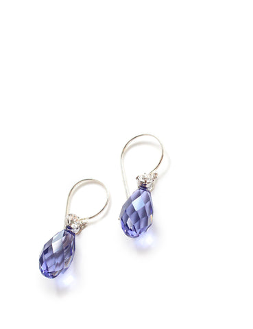 Dige Designs Tanzanite Swarovski crystal drop earrings