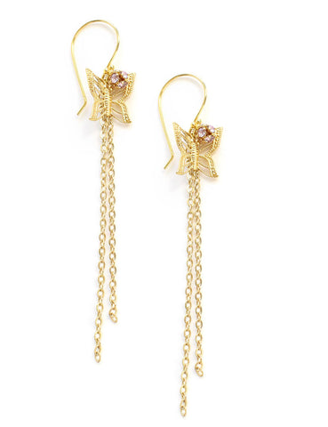 Gold butterfly earrings with Swarovski crystal balls
