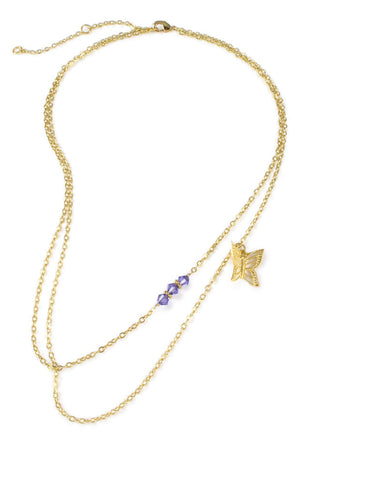 Gold double chain butterfly necklace with Swarovski crystals