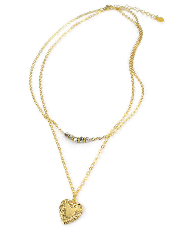 Gold double chain heart necklace