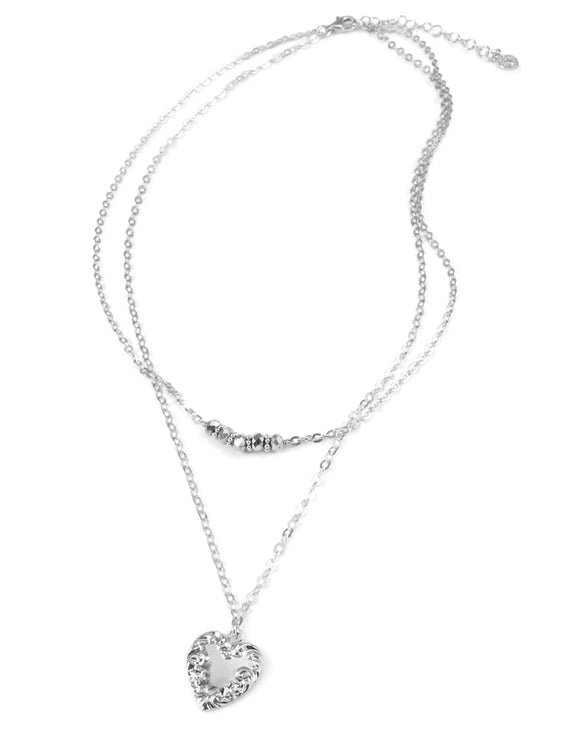 Silver double chain heart necklace