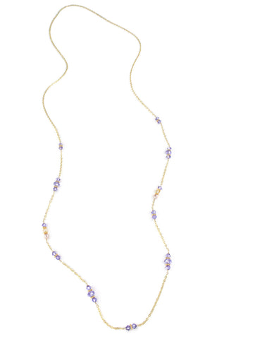 Long necklace with pearls and Swarovski crystals