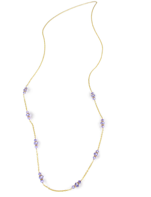 Long necklace with tanzanite Swarovski crystals