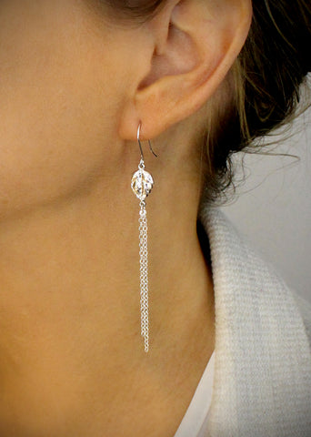Long silver leaf earrings - Dige Designs