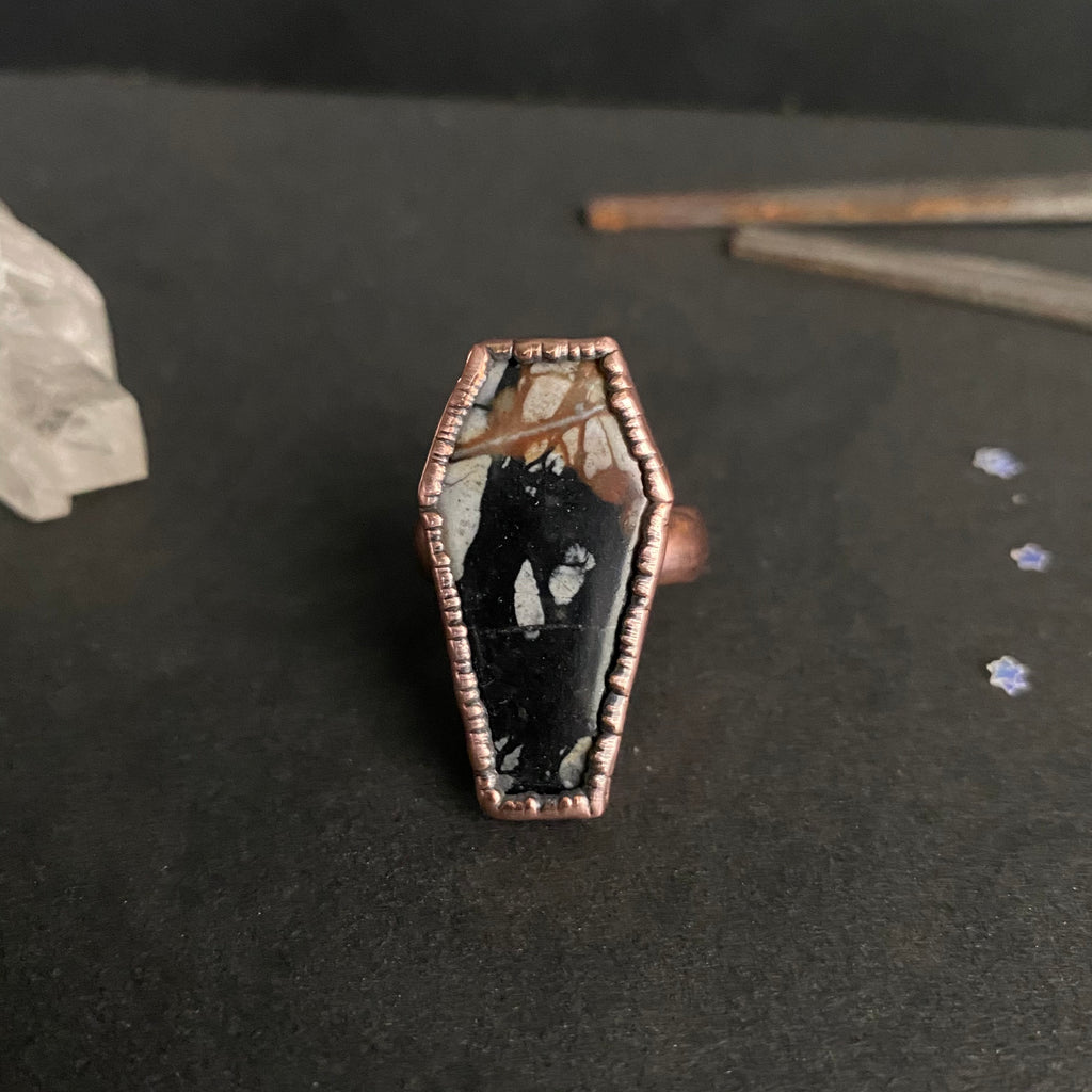 Size 8 - Copper + Picasso Jasper Coffin Ring
