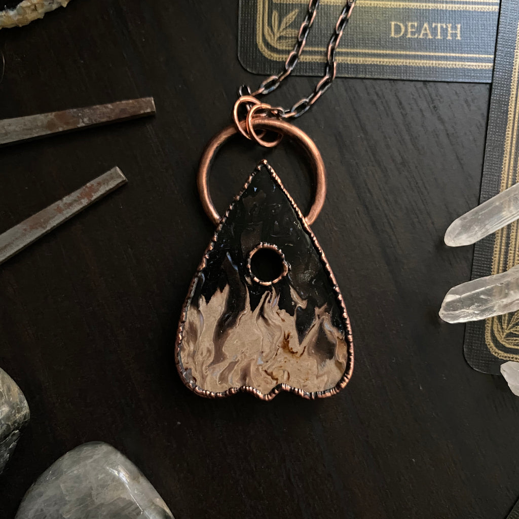 Copper + Palm Root Planchette Necklace