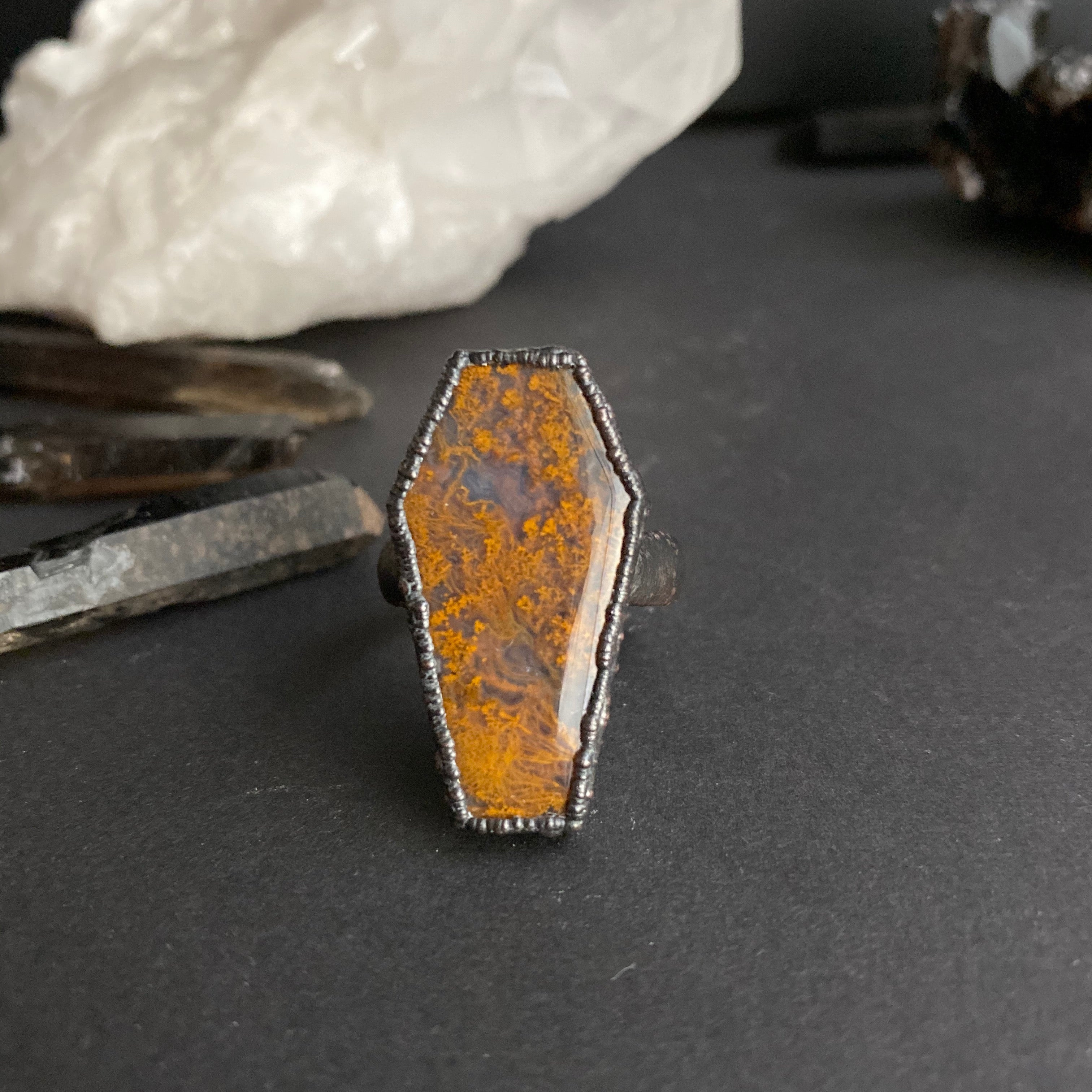 Size 10 - Copper + Cathedral Agate Coffin Ring