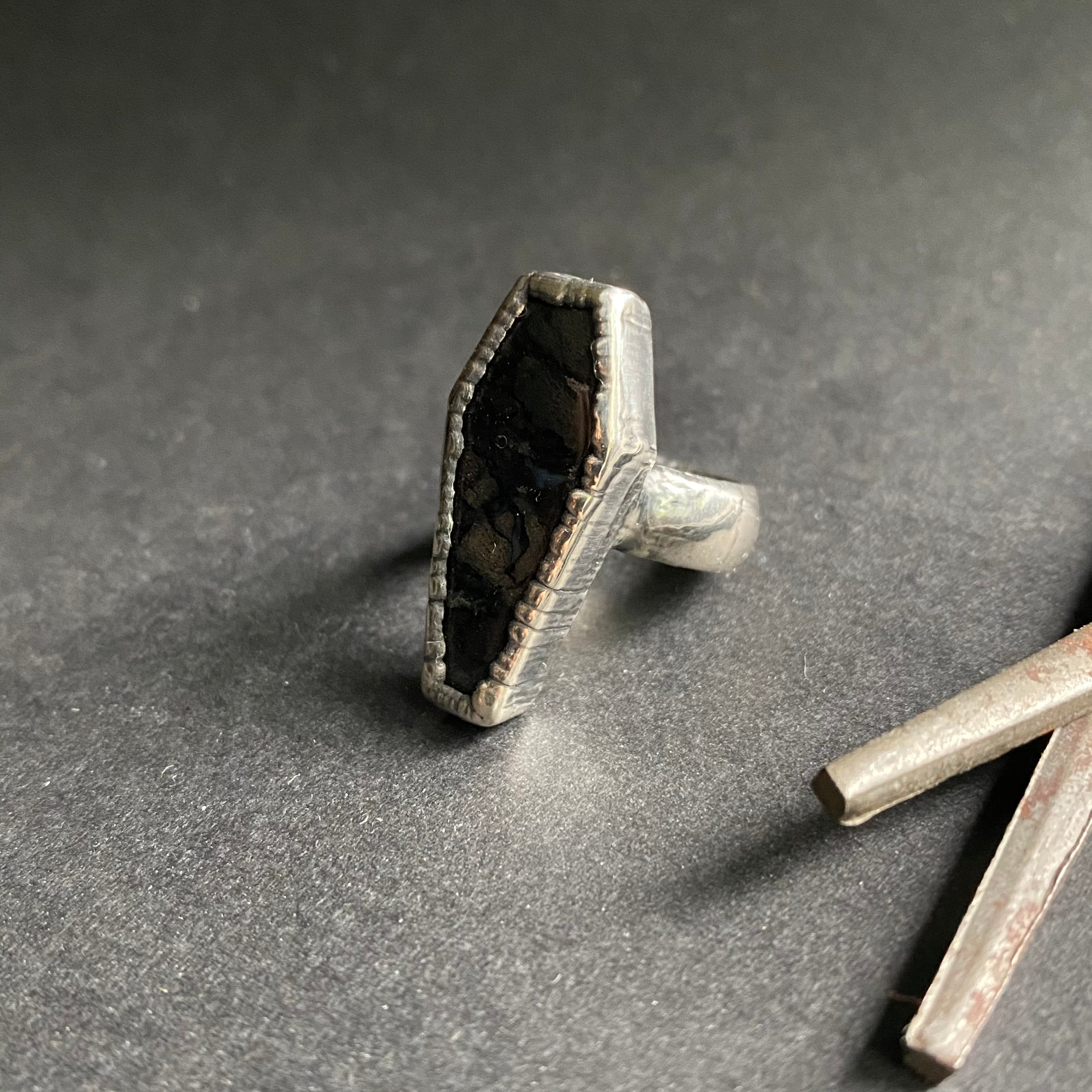 Size 4 - Silver + Palm Root Coffin Ring