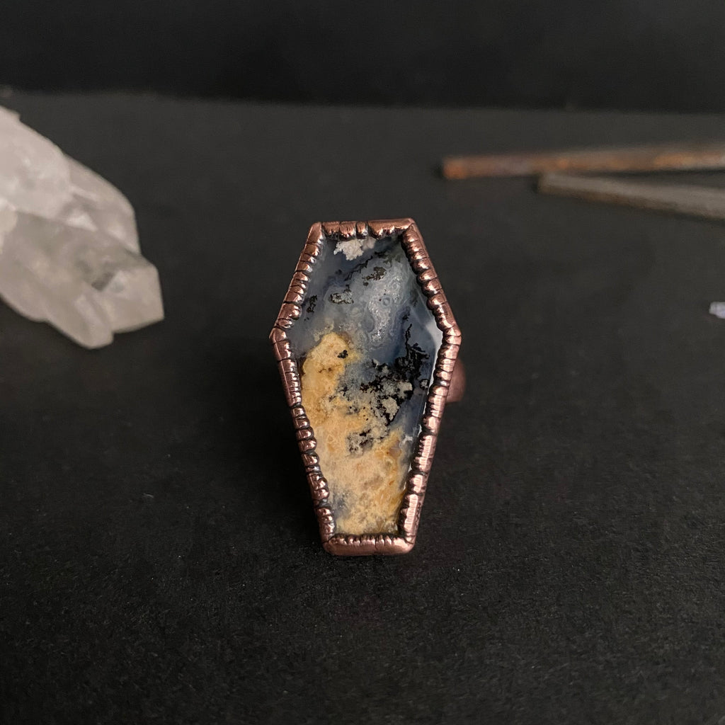 Size 5 - Copper + Graveyard Agate Coffin Ring