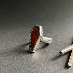 Size 9 - Silver + Mary Ellen Jasper Coffin Ring