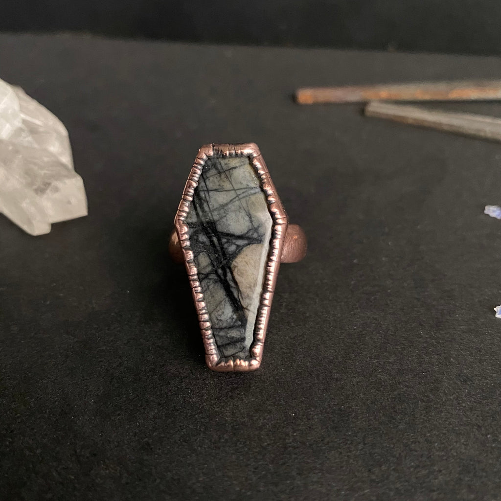 Size 7 - Copper + Picasso Jasper Coffin Ring