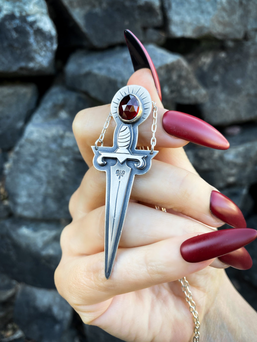 Crimson Dagger Garnet Necklace