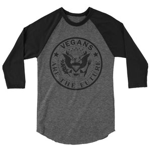 """Vegan Rocker"" - Men's/Unisex 3/4 Sleeve Raglan Shirt"