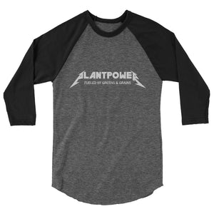 """Plant Power"" - Men's/Unisex 3/4 Sleeve Raglan Shirt"