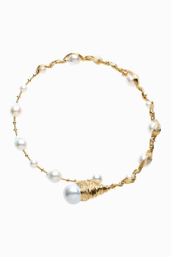 Freshwater Baroque Pearl & Gold Choker