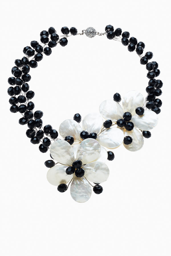 Mother of Pearl Flowers with Faceted Black Crystals