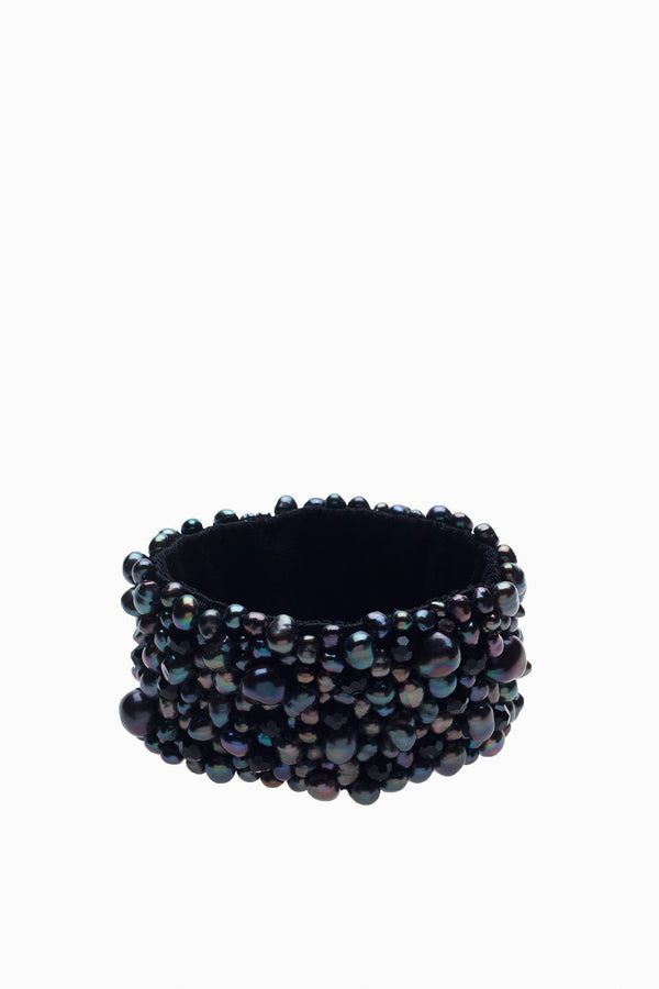 Cuff Bracelet in Black Onyx & Dark Gray Freshwater Pearls