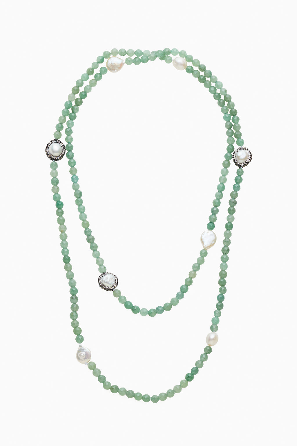 Endless Strand of Jade Beads & Freshwater Pearls