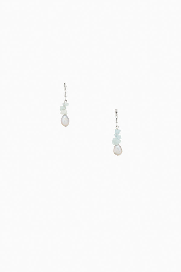 White Freshwater Pearls with Aqua Marine Earrings