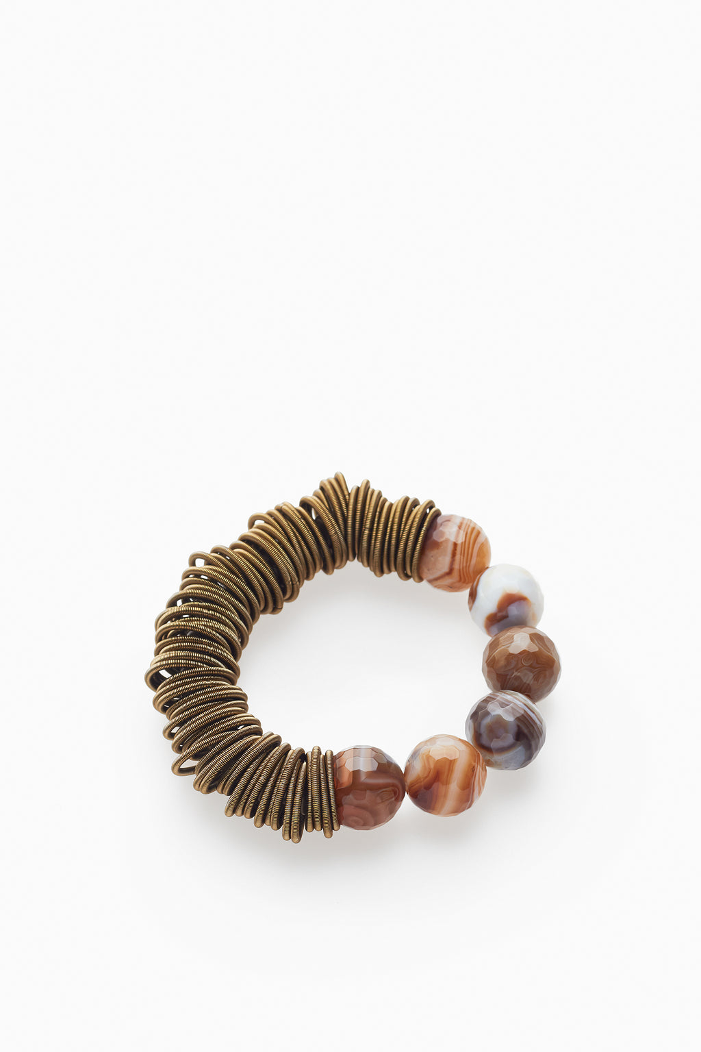 Natural Agate & Golden Brown Flex Coils Bracelet