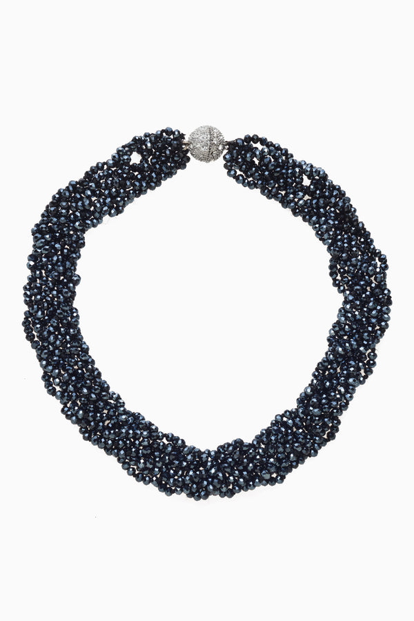 Dark Blue Hand Knotted & Braided Crystal Necklace