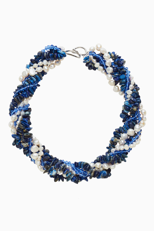 Strands of Pearl & Blue Crystals with Lapis