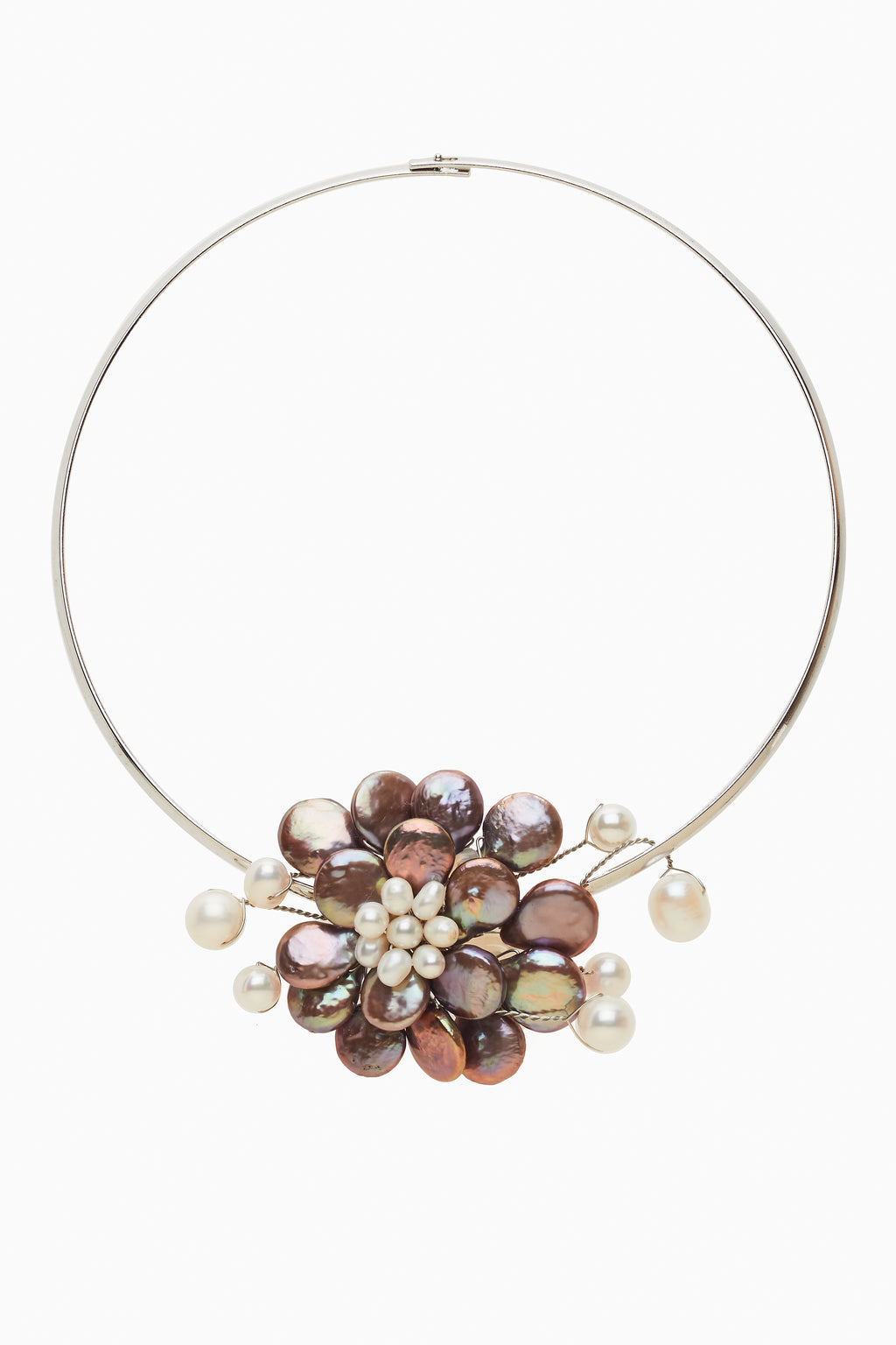 Bronze Freshwater Coin Pearls Neck Ring Choker