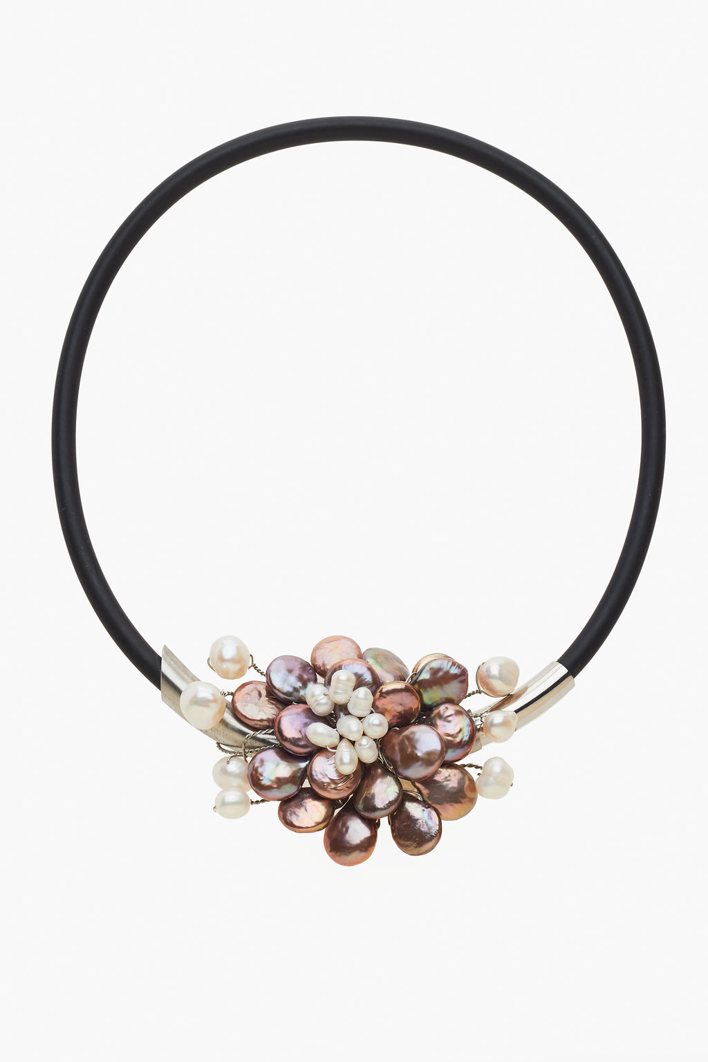 Bronze Coin & White Freshwater Pearls on a Black Neck Ring