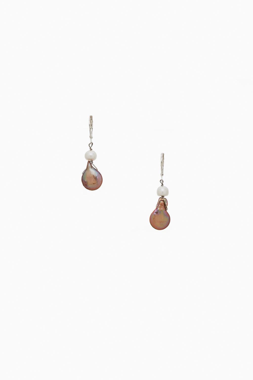 White Freshwater Pearl with Bronze Toned Coin Pearl Earrings