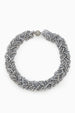 Silver Knotted and Hand Braided Crystal Choker Necklace