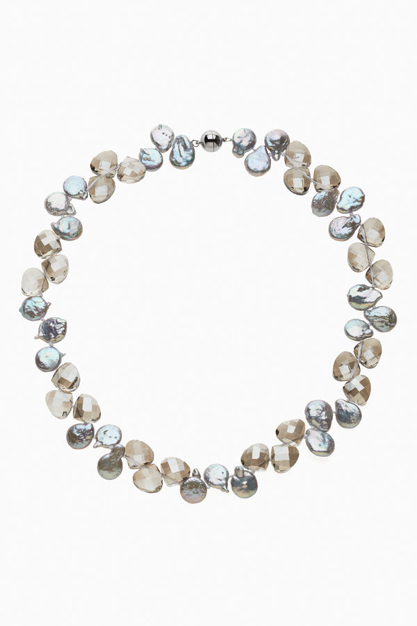 Grey Coin Pearls & Faceted Smoky Crystal Necklace