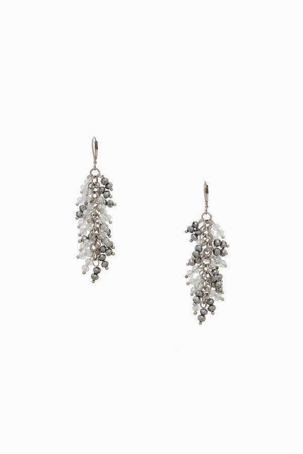 Clear & Silver Faceted Crystal Earrings