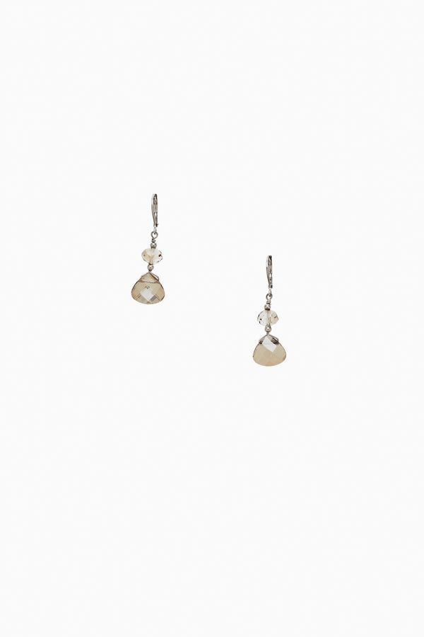 Faceted Smoky Crystal Earrings