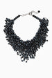 Hand Knotted Dark Blue Faceted Crystal Bib Necklace