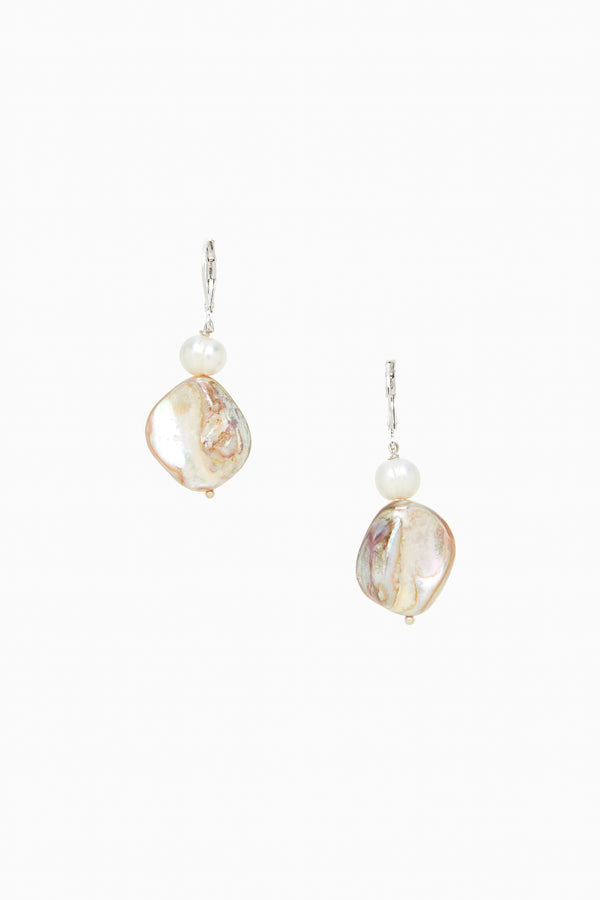 Blond Mother of Pearl with White FW Pearl Silver Lever Back Earrings