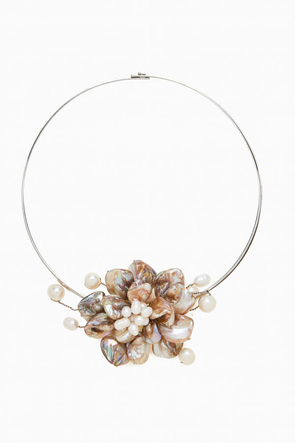 Blond Tones Mother of Pearl and Freshwater Pearls on a Silver Tone Choker Neck Ring