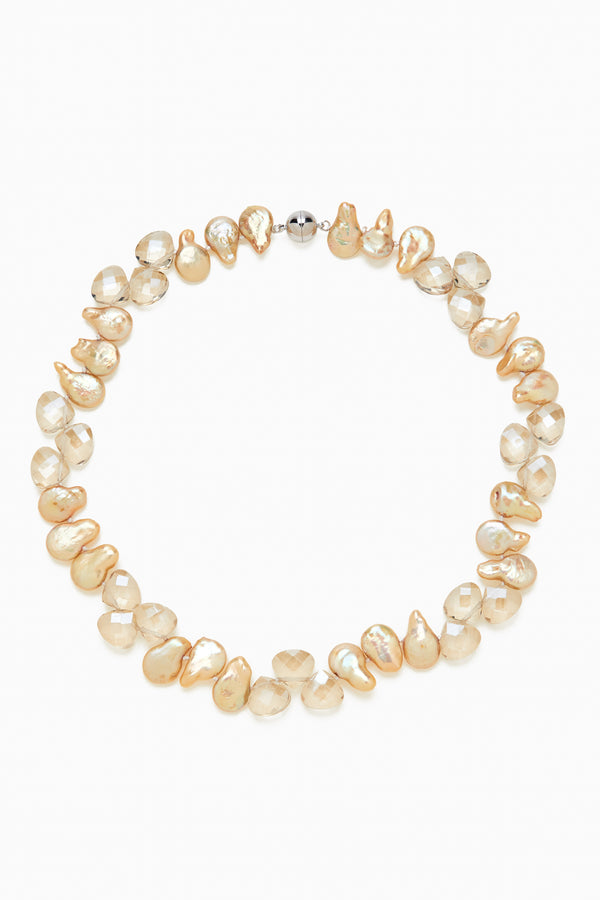 Champagne Coin Drop Pearls with Champagne Faceted Crystals