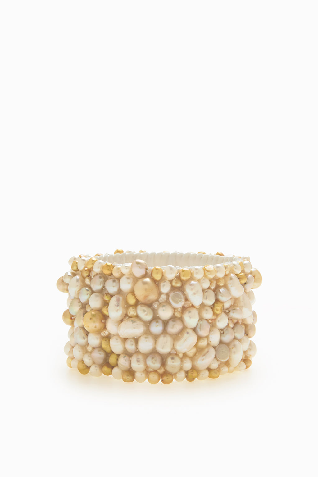 Hand Sewn Stretchy Cuff of Champagne, White and Yellow Freshwater Pearls