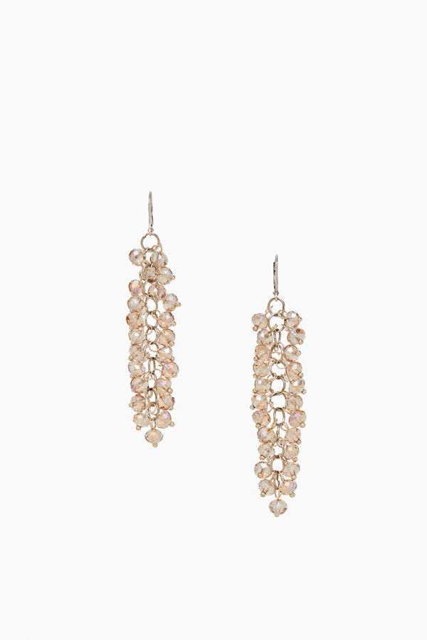 Dangle Champagne Faceted Crystal Silver Lever Back Earrings Earrings