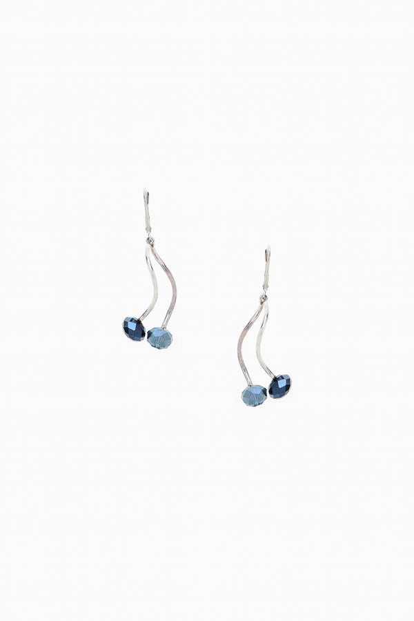 Dark Blue Faceted Crystal Silver Lever Back Earrings