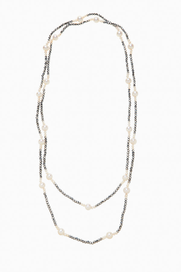 Endless Strand of Silver Faceted Crystals & Groupings of Freshwater Pearls