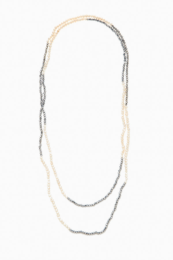 Chic faceted Silver Crystals and Freshwater Pearls Necklace