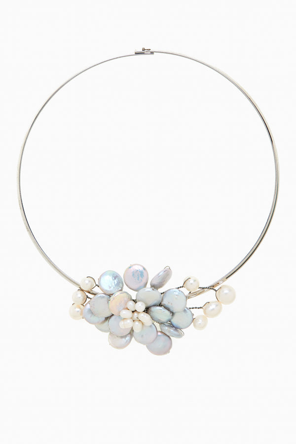 Gray Freshwater Coin Pearls Neck Ring Choker