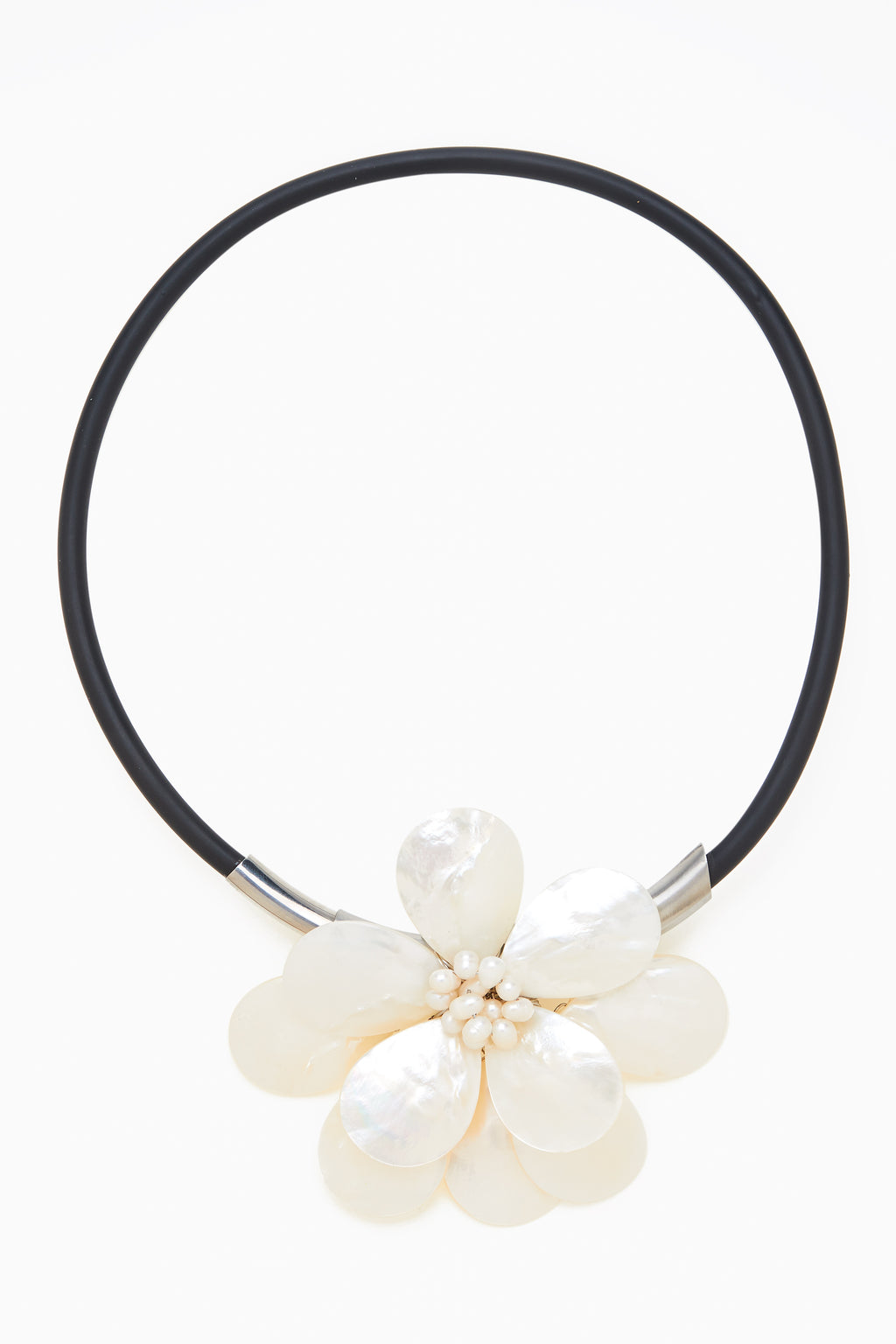 Large White Mother of Pearl Flower Petals on Black Magnetic Neck Ring
