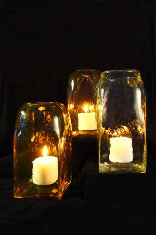 Large Hand Blown Glass Candle Holders