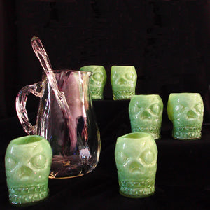 Hand Blown Pitcher, Stir and Skeleton Mugs